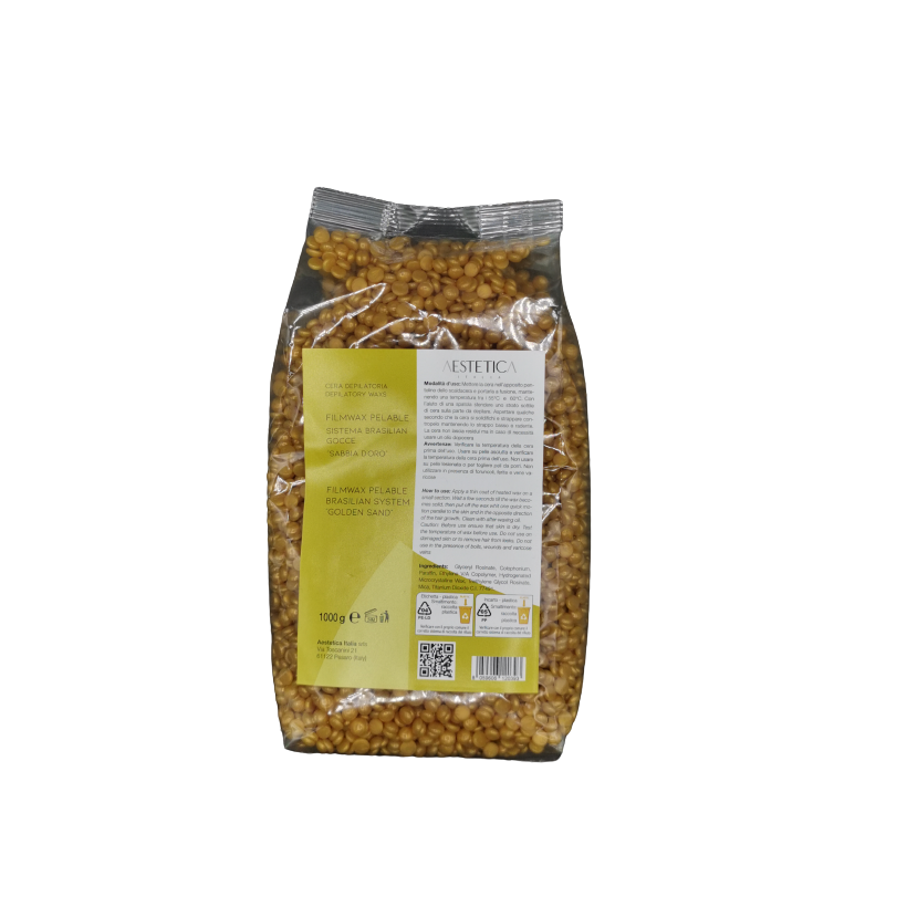 cera depilatoria filmwax pelable brasilian system gocce sabbia d'oro 1 kg